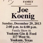 Joe Koenig in Yoakum on 12/29/13